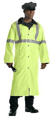 Mens Reflective Safety Rain Parka Jacket Green High Visibili