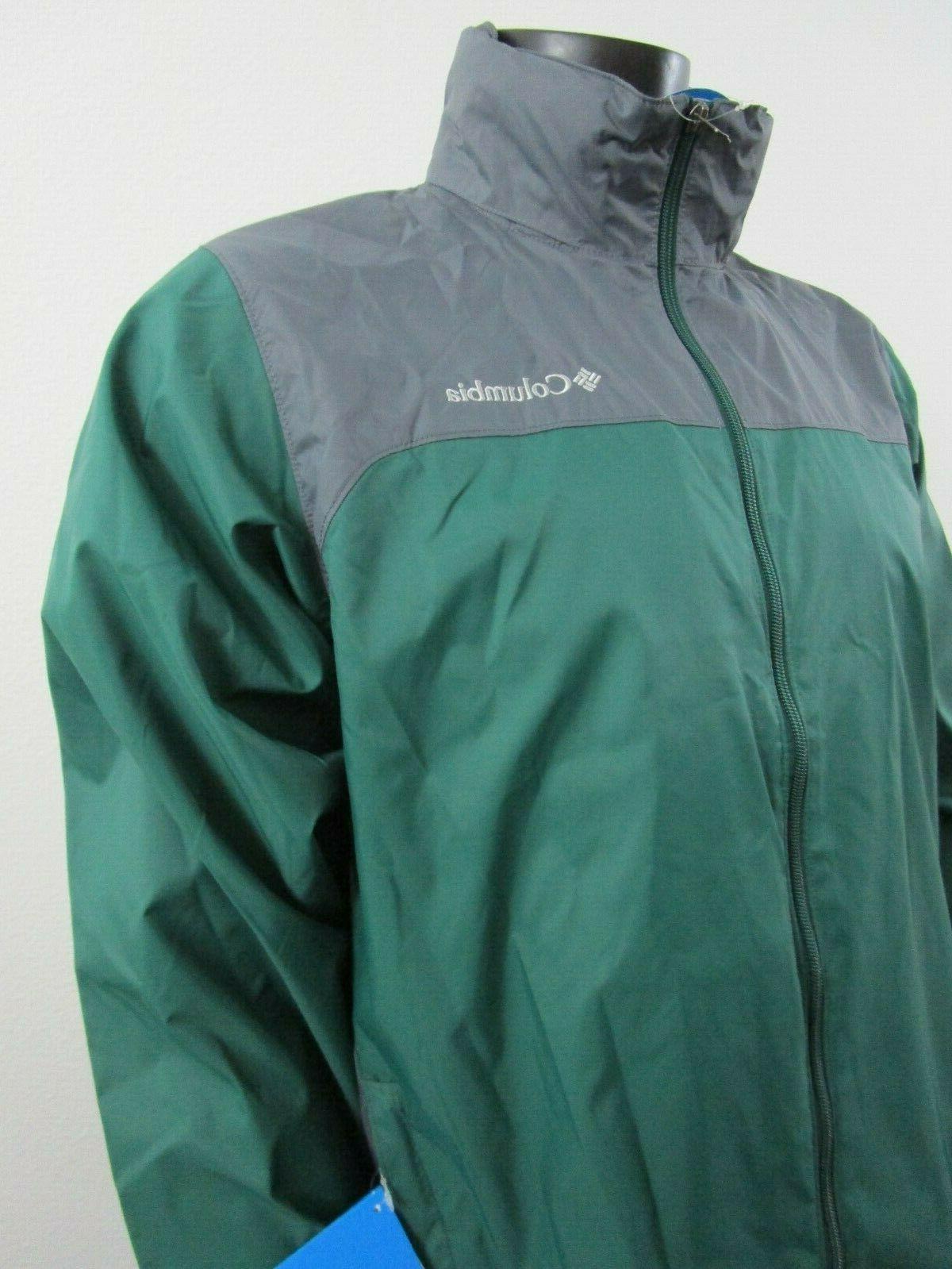 Mens Columbia Falls Rain Waterproof Hooded Jacket Green