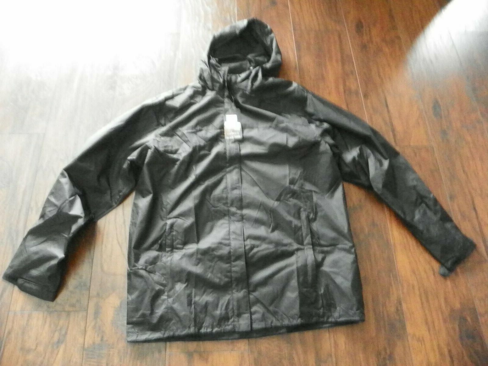 mens waterproof rain jacket black sz medium