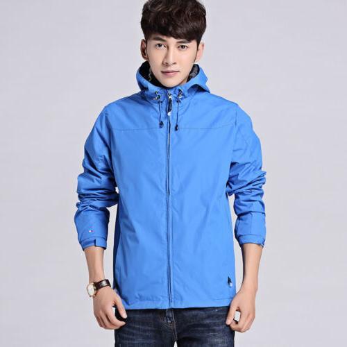 Mens Windproof Outdoor Jacket Rainwear Hoodie Rain Coat