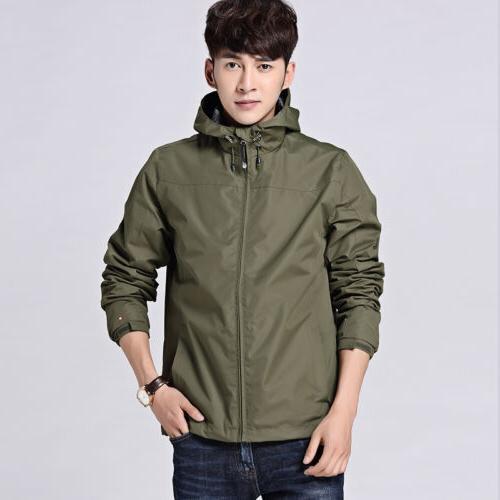 Mens Waterproof Jacket Rainwear Hoodie Rain Coat Outerwear