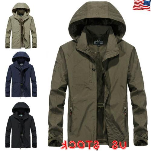 mens windproof waterproof jacket outdoor hiking hooded