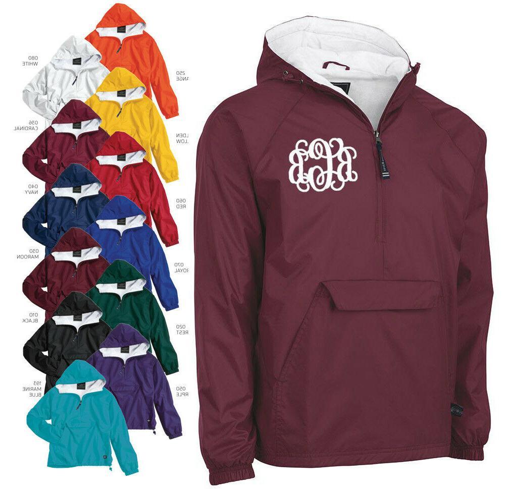 monogrammed half zip rain jacket by charles