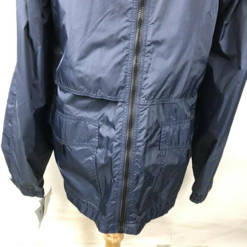 California Outerwear Navy Blue Hooded Jacket Vented Zip
