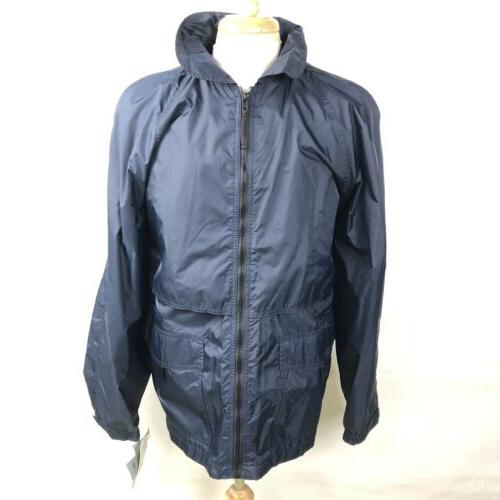 navy blue hooded rain jacket coat vented