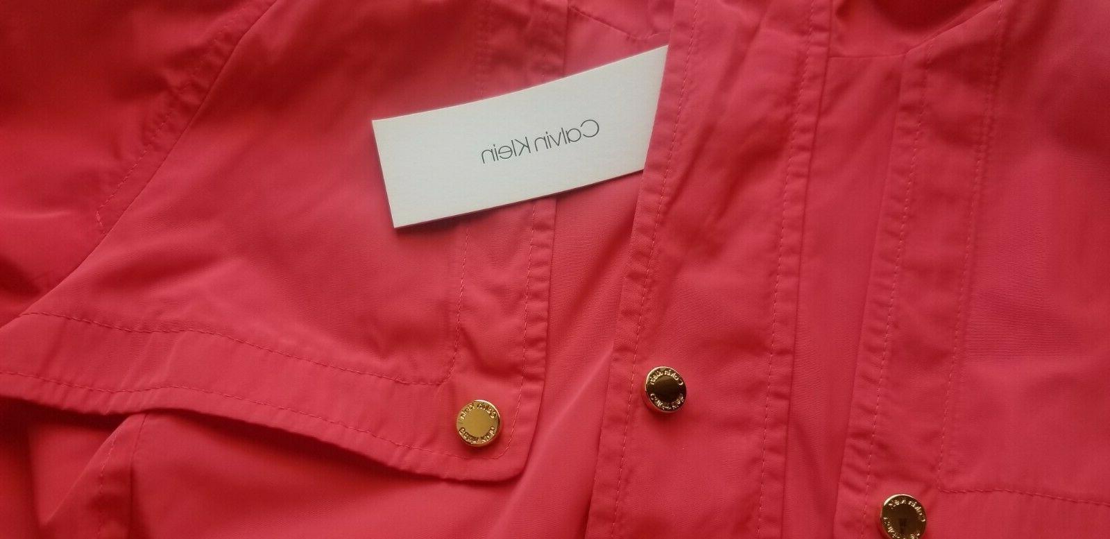 NEW Snap Front Jacket Rain Coat Orange Red S