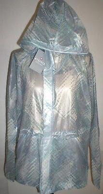 New NWT $138 Athleta Rain Mist Run Gray White Jacket Womens