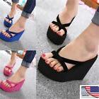 NEW US Womens Wedge Platform Thong Flip Flops Sandals Beach