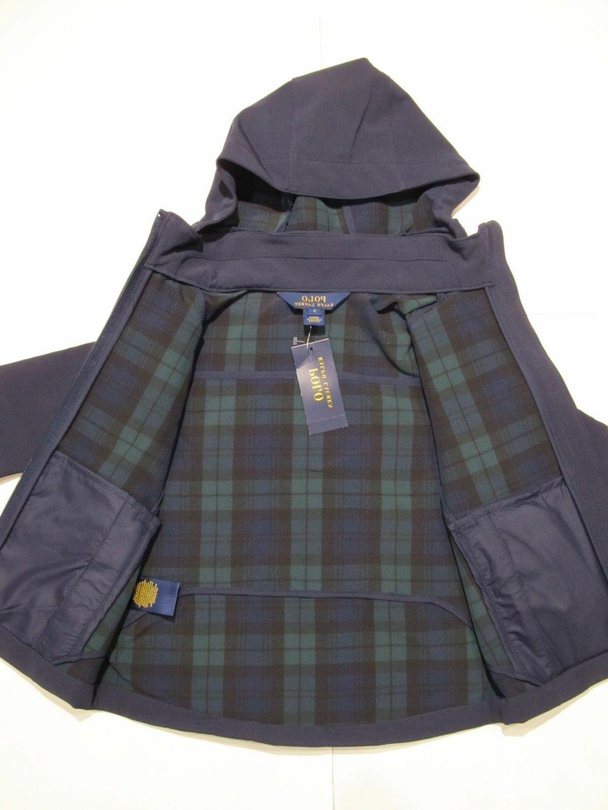 New Boys Lauren Hooded Packable Rain Jacket L