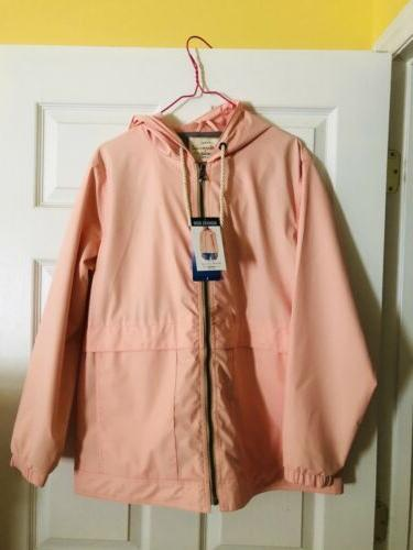 nwt large weather proof hooded zip front