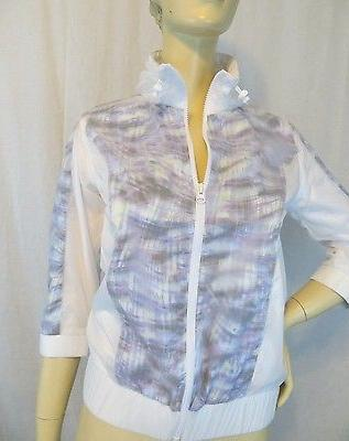 NWT New Cynthia Rowley Zipper Activewear Rain Jacket 3/4 Sle