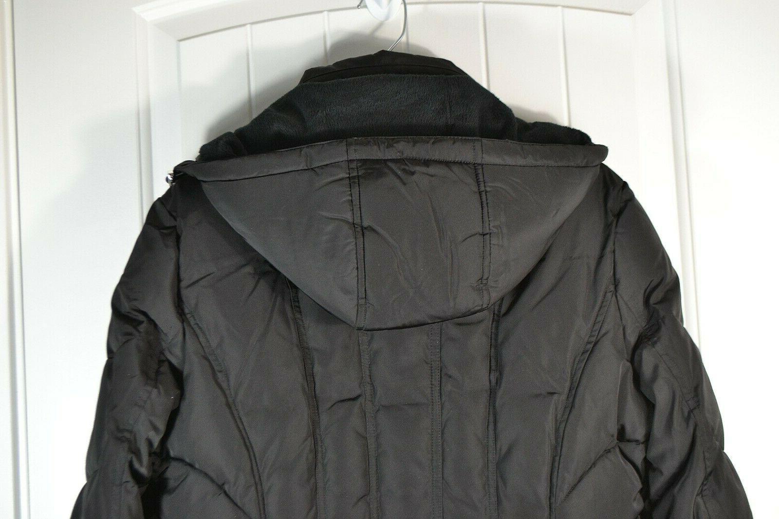 NWT BLACK HOODED COAT S