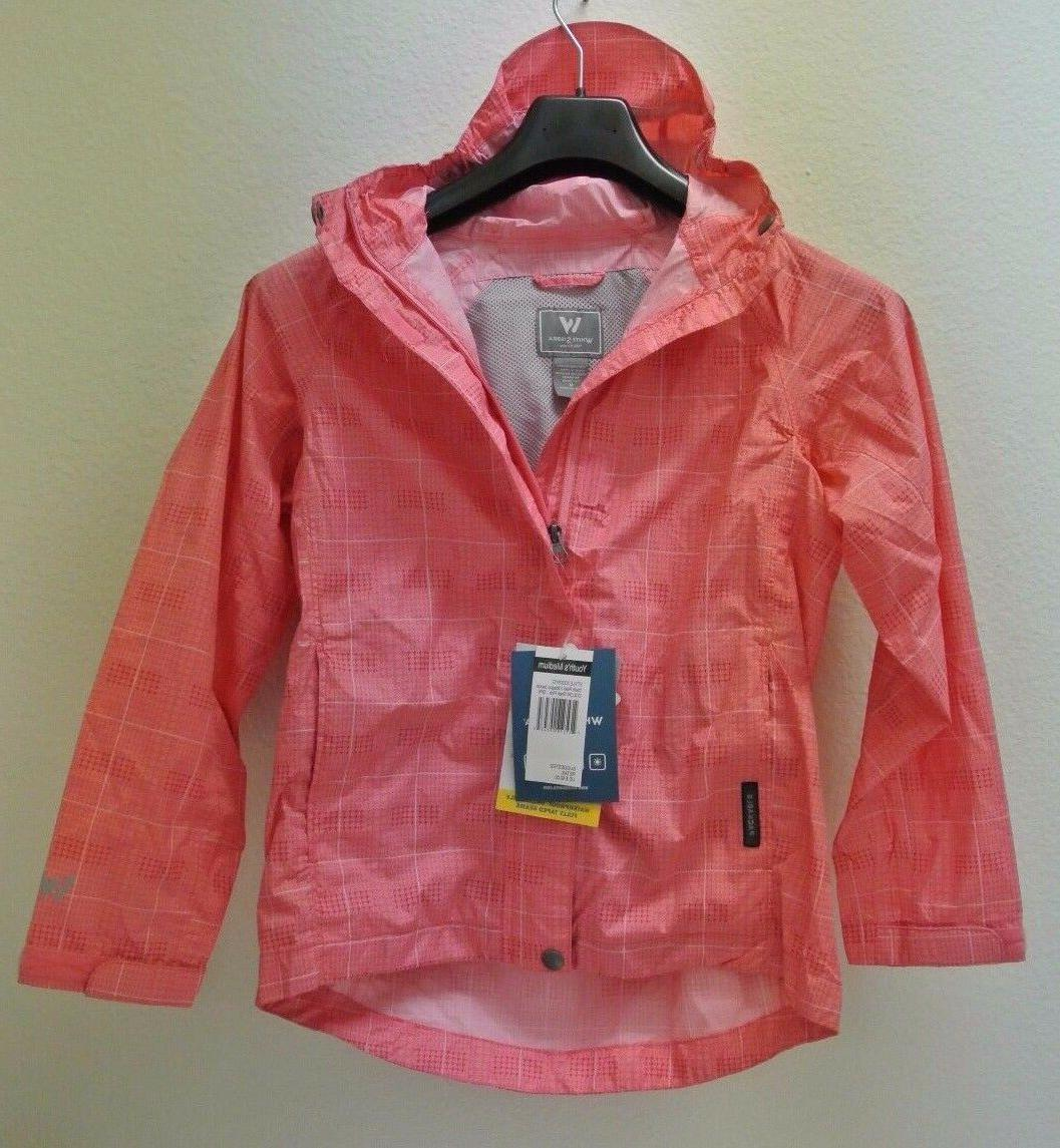 White Sierra Plaid Trabagon Waterproof Rain Jacket, Pink, Gi