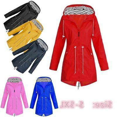 Plus Sleeve Hooded Lady Waterproof Coat