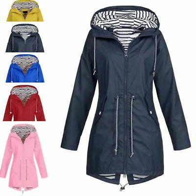 Plus Size Long Sleeve Wind Lady Waterproof Coat