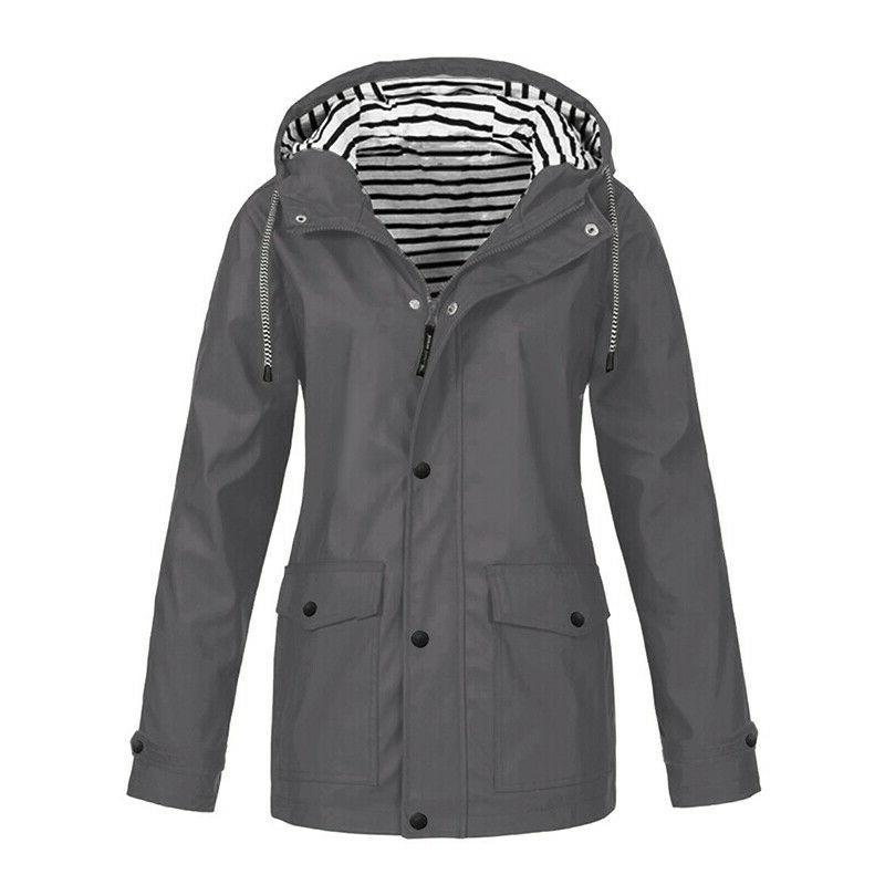 Plus Women Sleeve Hooded Windproof Outdoor Waterproof Coat