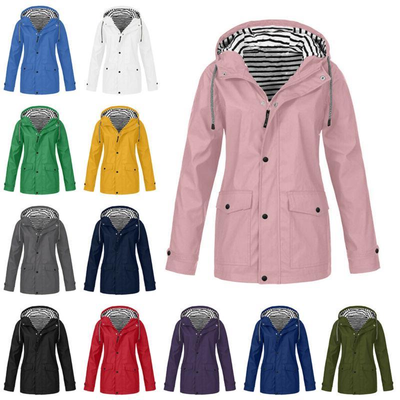 plus size women long sleeve hooded windproof