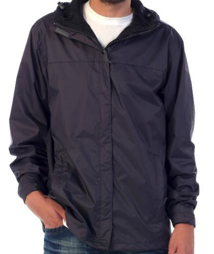 rain jacket black waterproof hooded poly 2pockets