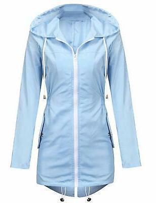 rain jacket women lightweight hooded waterproof raincoat