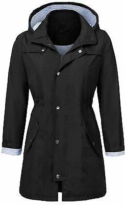 UNibelle Rain Jacket Women Striped Lined Hooded Lightweight