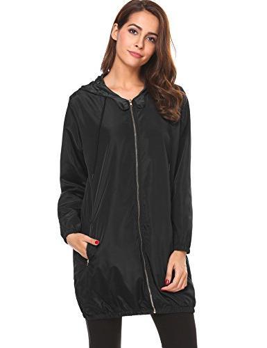 rain jacket women waterproof hooded lightweight raincoat