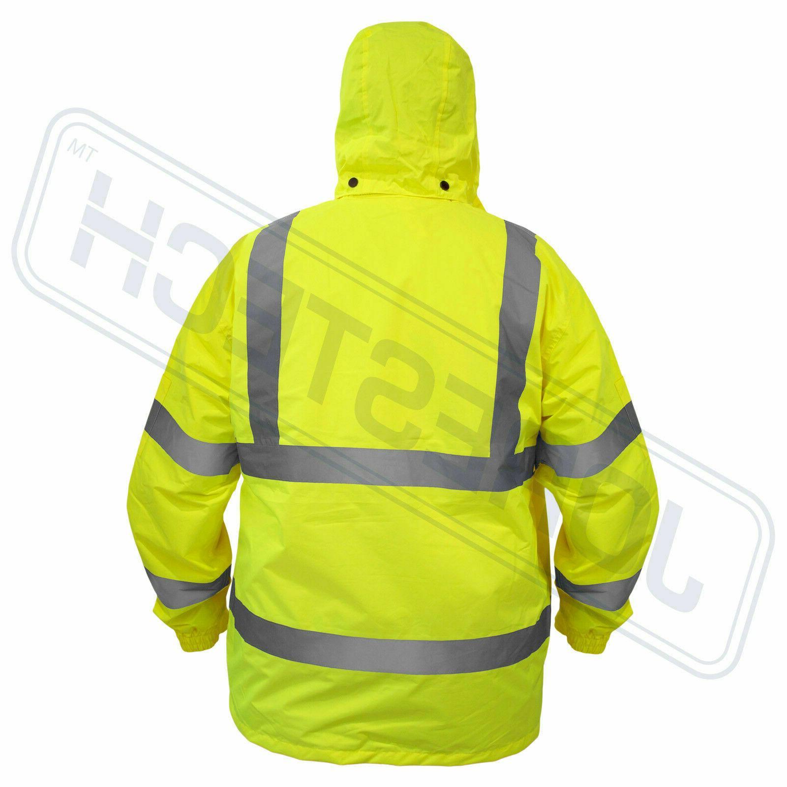 Safety Jacket Reflective Green Raincoat w