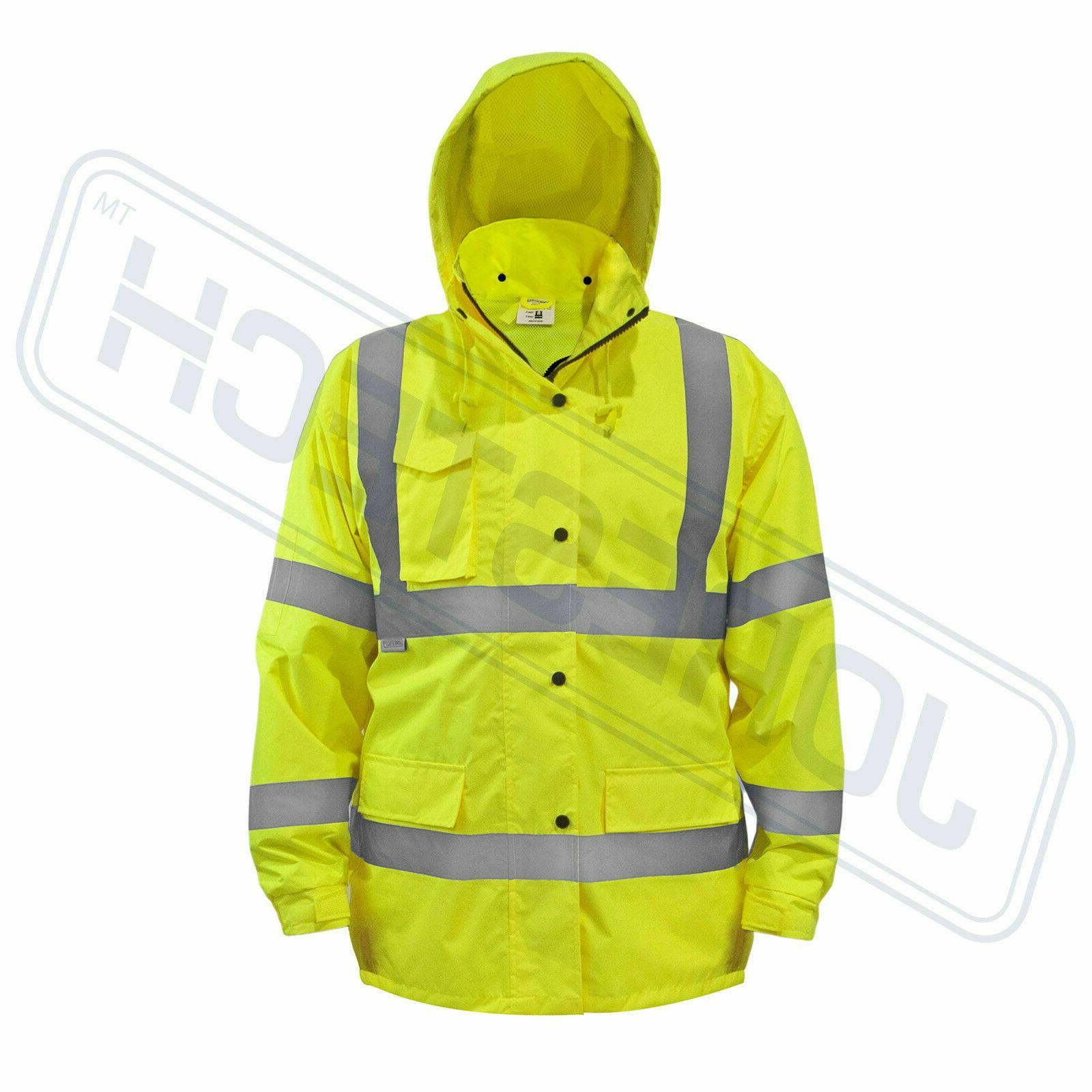 Safety Rain Green Hi-Vis Raincoat w Hood JORESTECH