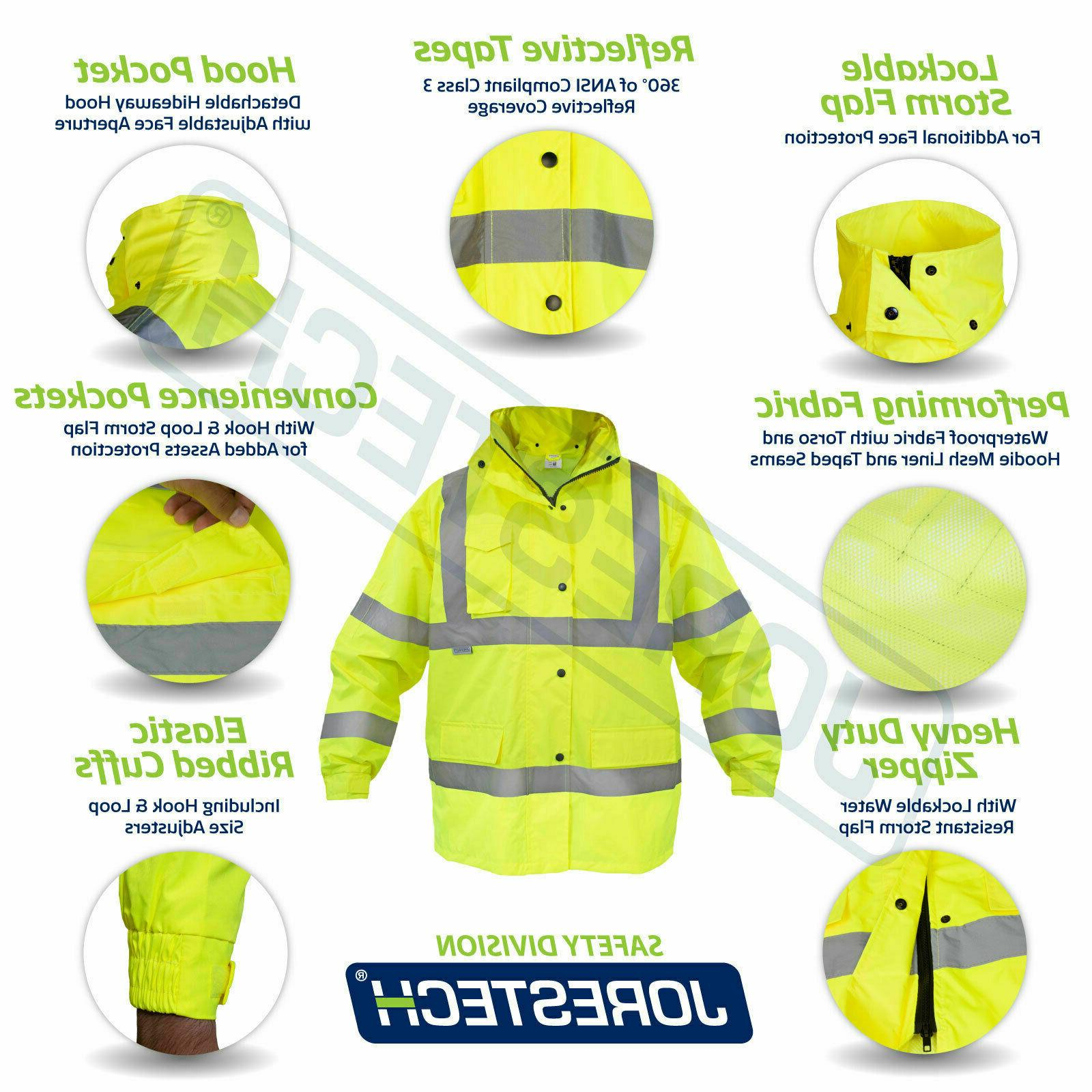 safety rain jacket reflective green hi vis