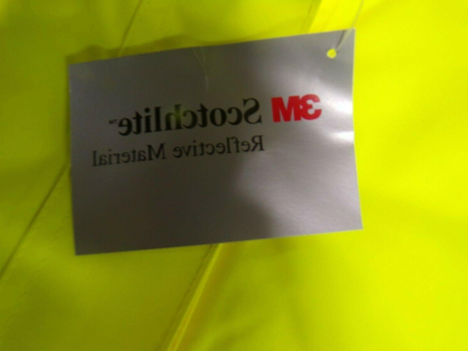 Safety Rain Jacket Green Hi-Vis w Hood medium