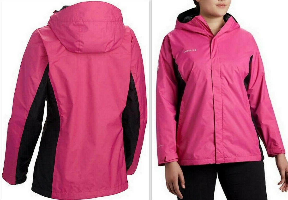 tested tough in pink hooded rain jacket