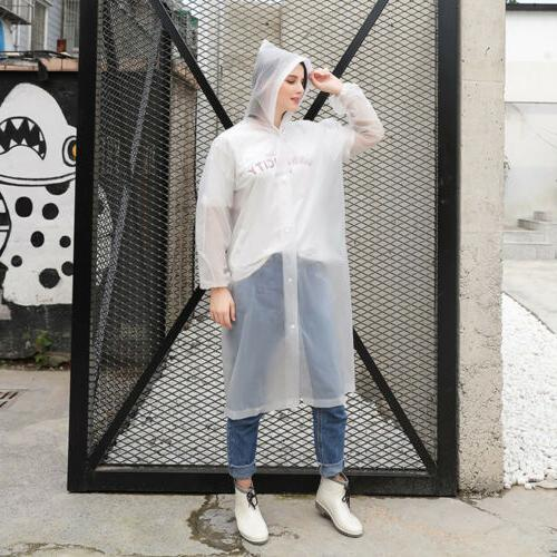Women Men Waterproof Clear Raincoat Rain Coat Hooded