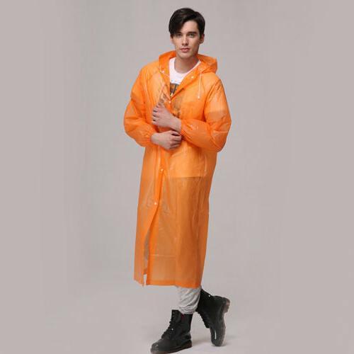 Women Men Waterproof Jacket Clear PVC Coat Hooded