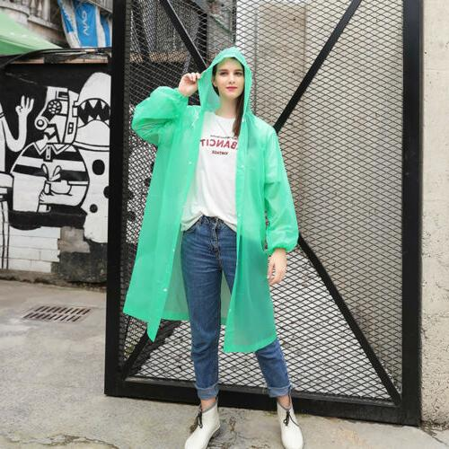Women Waterproof Clear PVC Raincoat Coat Poncho Rainwear
