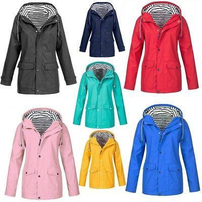 Women Waterproof Long Sleeve Zip Up Wind Jacket Ladies Winte
