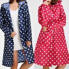 Waterproof Lady Dotted Raincoat Outdoor Travel Hooded Long R
