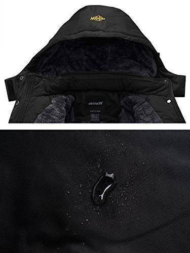 Wantdo Waterproof Mountain Jacket Fleece Windproof Jacket Black S