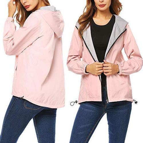 women casual hooded long sleeve zip up