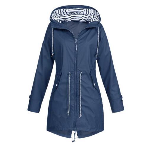 Women Waterproof Jacket Hooded Rain Mac Poncho US