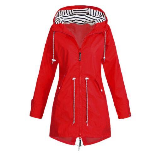 Women Ladies Waterproof Jacket Hooded Rain Mac Outdoor