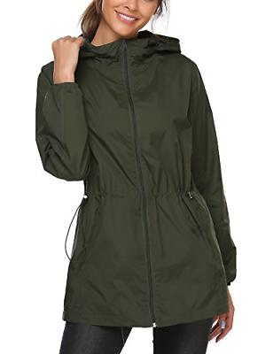 women lightweight rain jacket hooded waterproof active
