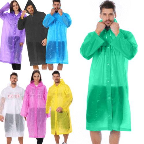 Unisex Waterproof Raincoat Rain Coat Hooded Poncho Men