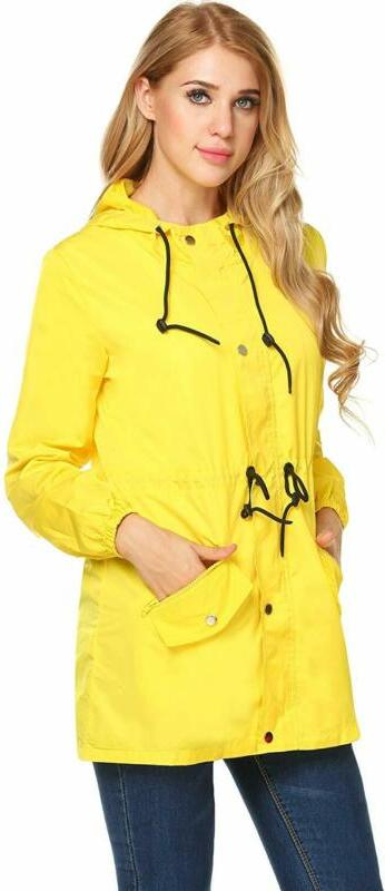 UNibelle Raincoat Lightweight Hooded Rain Jacket Active Windbreake