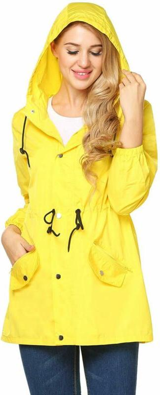 women raincoat lightweight hooded rain jacket outdoor