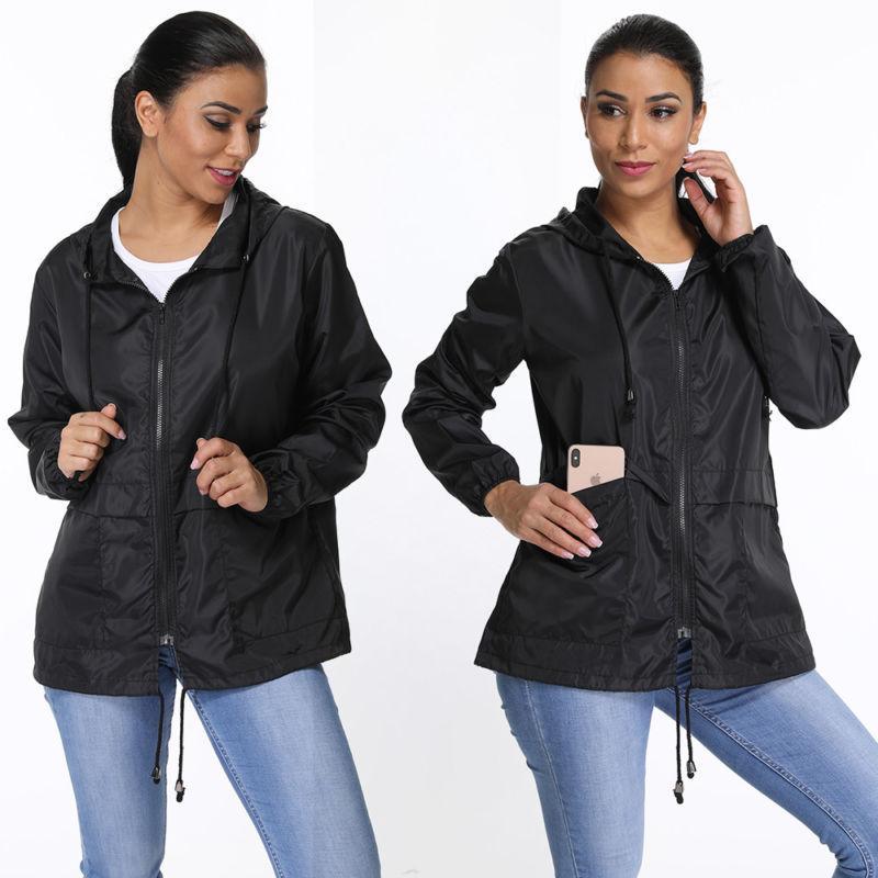 Women's Solid Wind Breaker Jacket Waterproof Rain Sports
