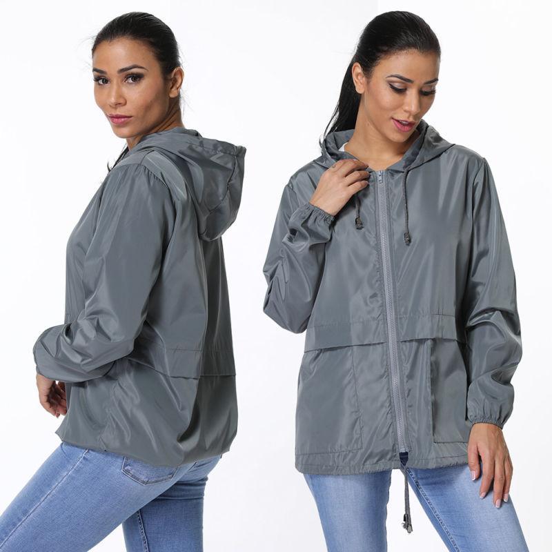 Women's Hooded Solid Wind Breaker Jacket Waterproof Rain G13
