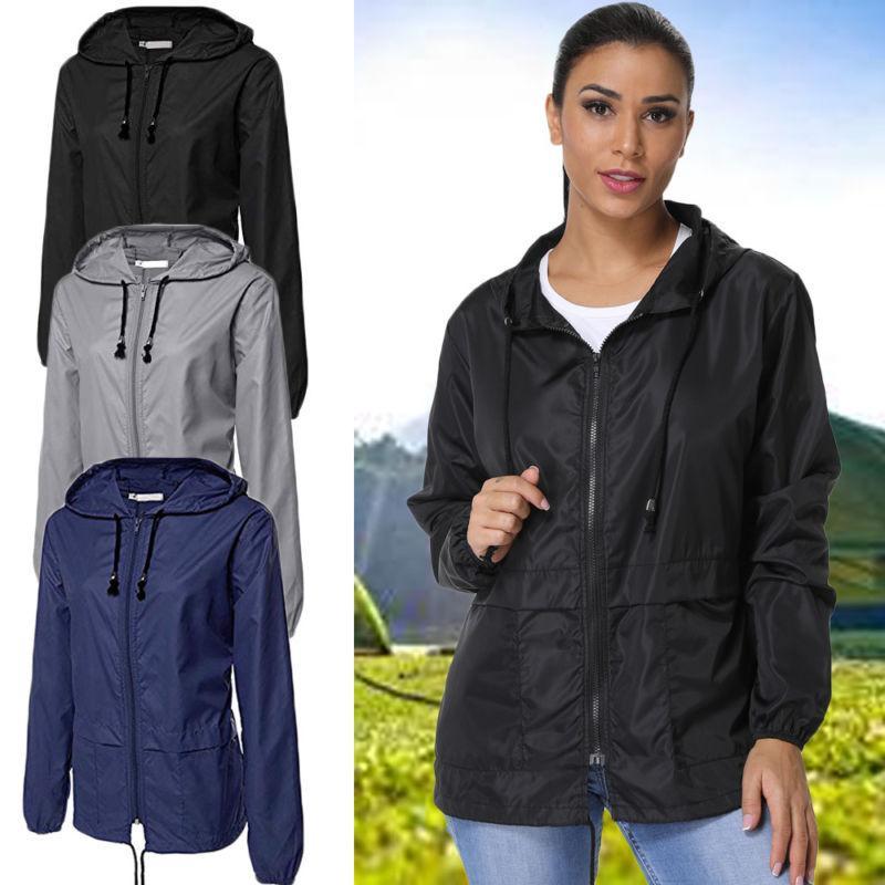 women s hooded solid wind breaker jacket