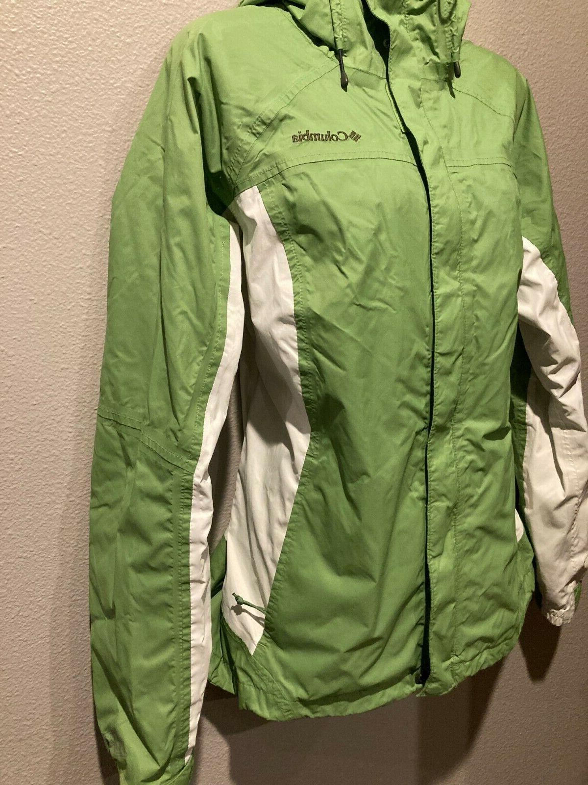 Women's COLUMBIA Green/White Hood Rain
