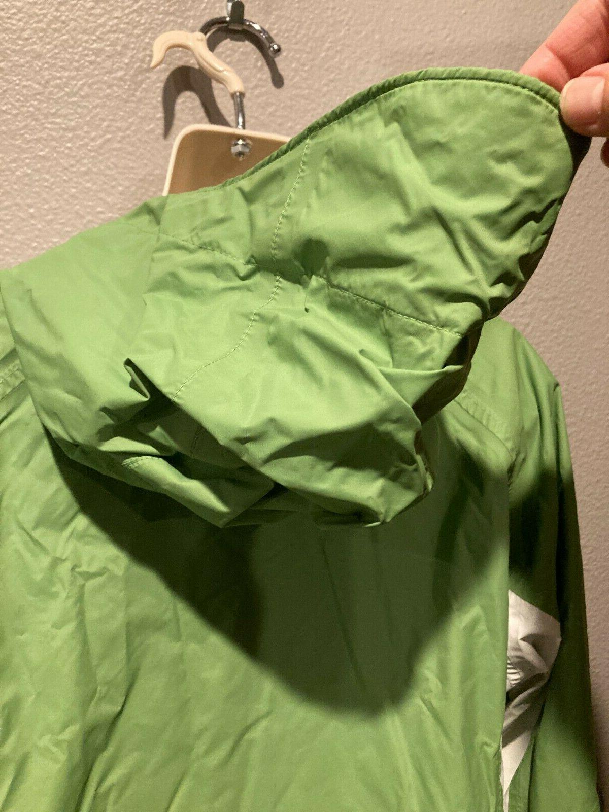 Women's Green/White Windbreaker Waterproof Rain L