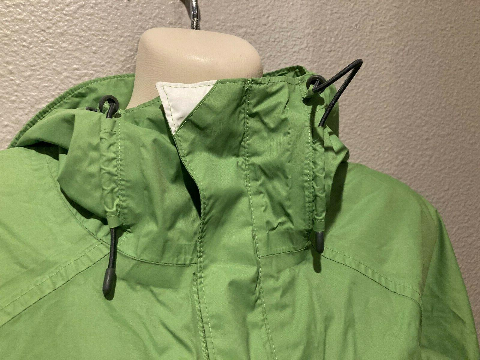 Women's Green/White Hood Windbreaker Waterproof Rain Jacket L