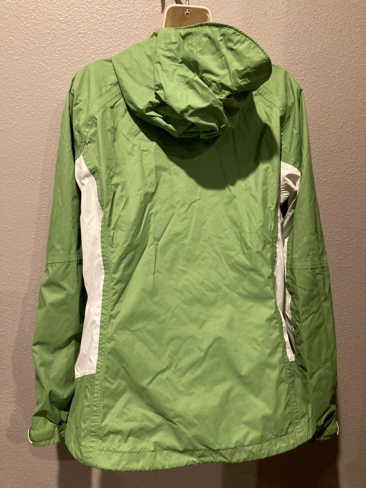 Women's Green/White Windbreaker Waterproof Rain